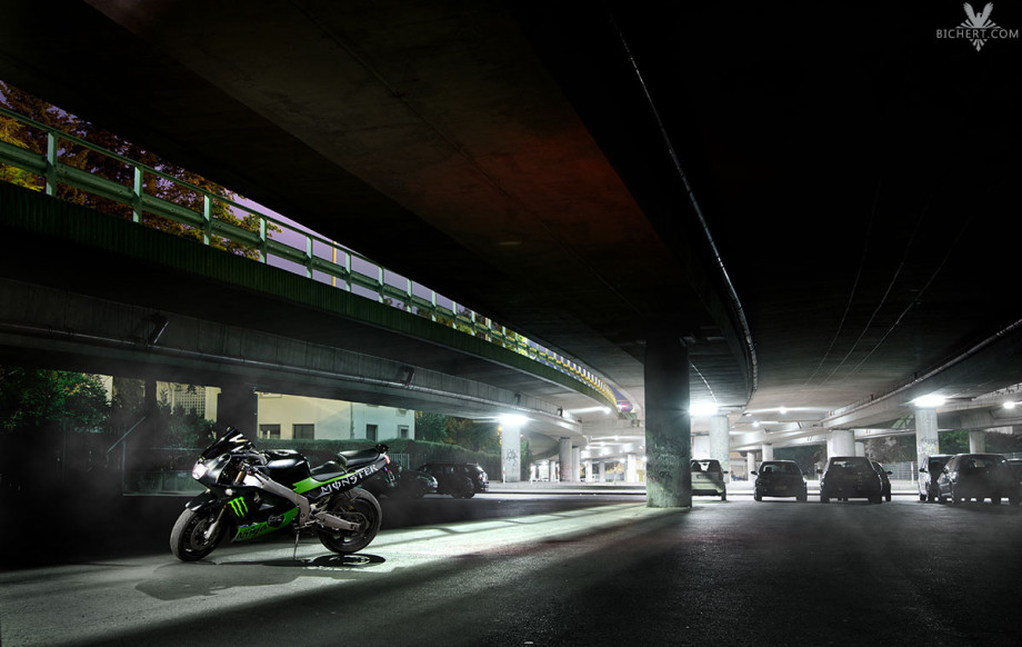 Motorrad Photoshooting nachts in Frankfurt