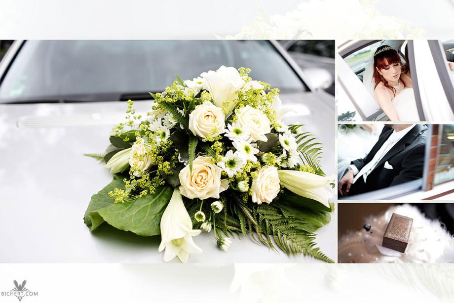 Abholen der Braut zur standesamtlichen Trauung mit dem Auto. Dazu noch ein Portrait von der Braut und dem Kissen auf dem Eheringe liegen.