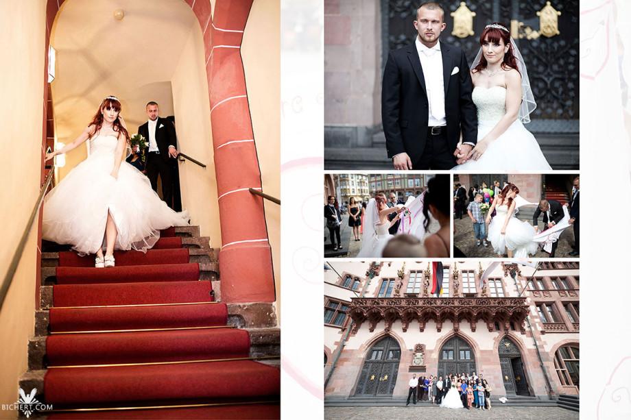 Braut und Bräutigam steigen die Stufen herab und werden von ihren Gästen in Empfang genommen. Danach werden ein paar Hochzeitsbilder auf dem Römer gemacht