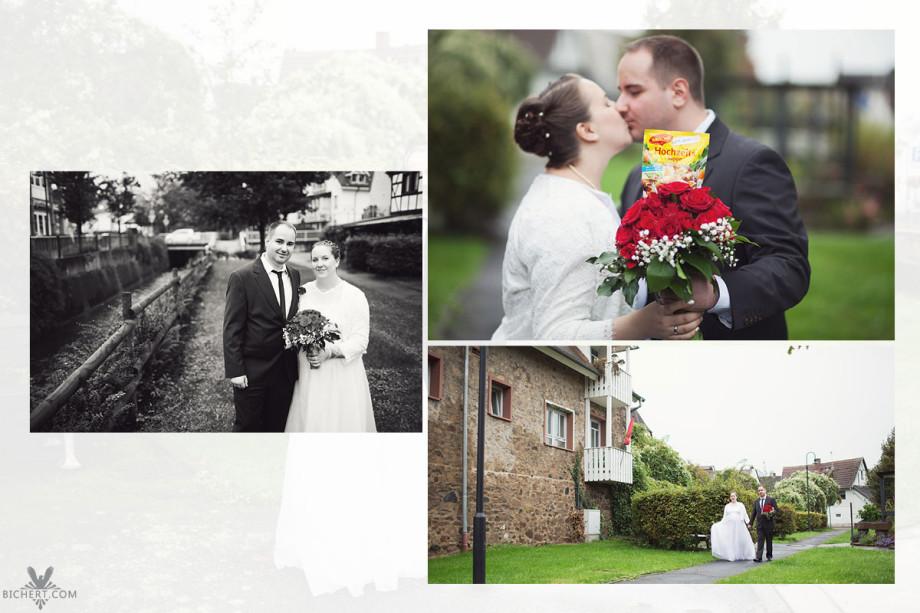 Kleines Shooting vom Hochzeitspaar an der Modau in Mühltal. Das Hochzeitspaar geht spazieren im Park.