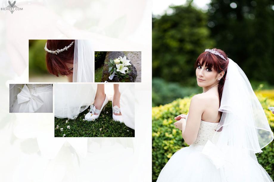 Details vom Brautschmuck, den Schuhen der Braut , Brautstrauß  und der Schleife vom Hochzeitskleid. Dazu ein Hochzeitsfoto im Park am Schlosshotel Taunus.