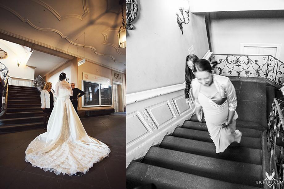 Hochzeitsfotografie Treppenhaus Bolongaro Palast Frankfurt Höchst