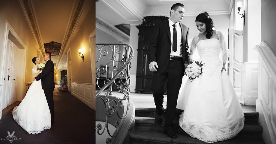 Hochzeitsfotos auf den Stufen im Treppenhaus im Standesamt